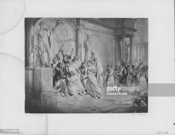 Engraved scene from the works of William Shakespeare The Tragedy of Julius Caesar 1599
