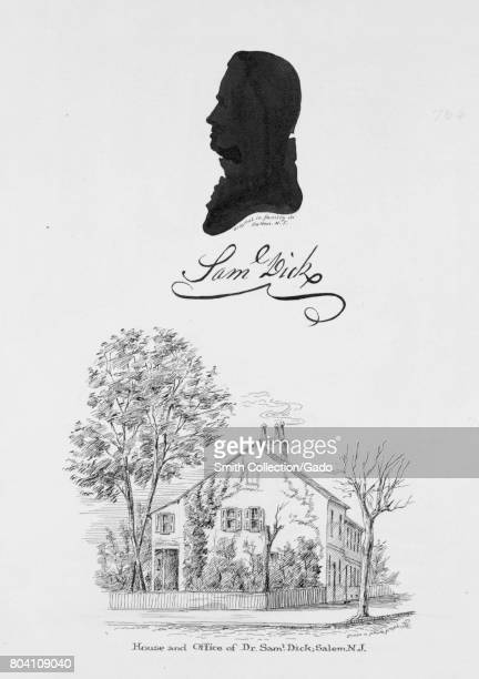 Engraved silhouetted profile of Samuel Dick physician and delegate to the Continental Congress as well as an illustration of his home 1849 From the...