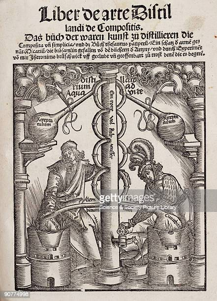 Engraved title page dominated by a cooling coil Illustration from �Liber de arte Distillandi de Compositis� by Hieronymus Brunschwig published in...