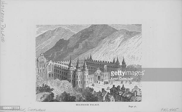 Engraved view of Holyrood Palace Edinburgh Scotland circa 1900