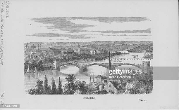 Engraved view of Koblenz or Coblentz and the Mosel River spanned by a Gothic freestone bridge of 14 arches Germany