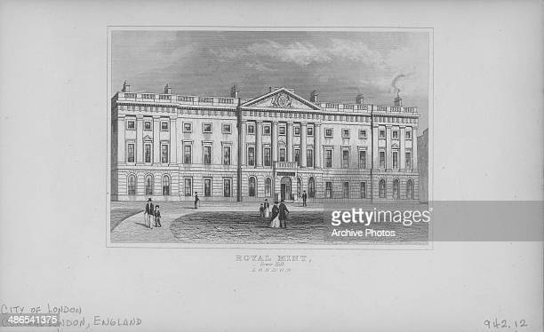 Engraved view of the British Royal Mint Building at Tower Hill London England circa 1880