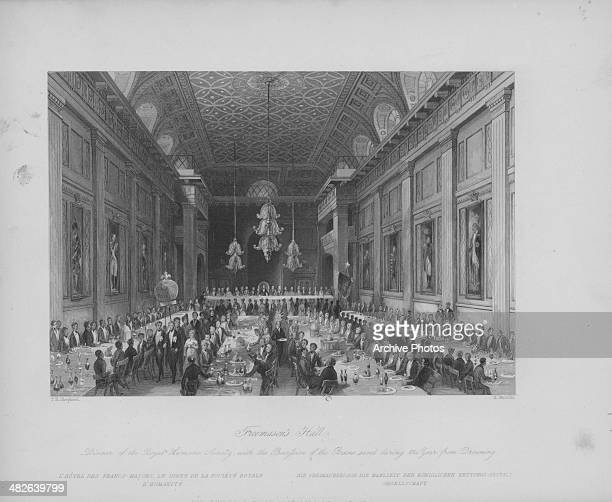 Engraved view of the cavernous interior of Freemason's Hall during a dinner of the Humane Society London circa 18501900 Engraved by H Melville from...