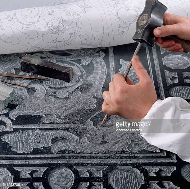 Engraver Chiseling Ornament for Italian Floor Mosaic