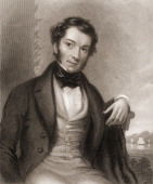 Engravied portrait of British economist and politician Richard Cobden early to mid 19th century