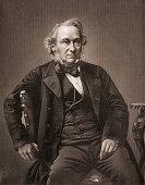 Engravied portrait of British economist and politician Richard Cobden mid 19th century