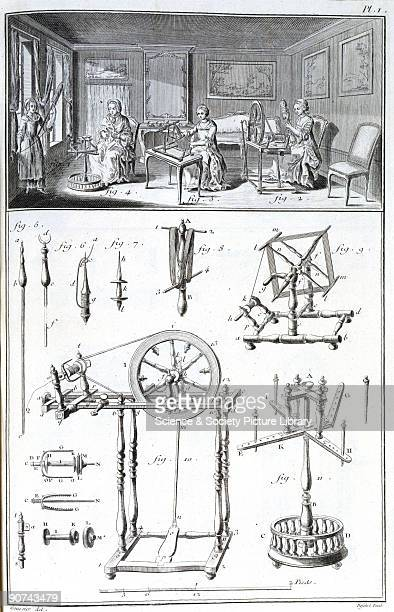 Engraving after Goussier showing craftswomen spinning yarn in a wellfurnished and airy room suggesting a cottage industry Below are illustrations of...