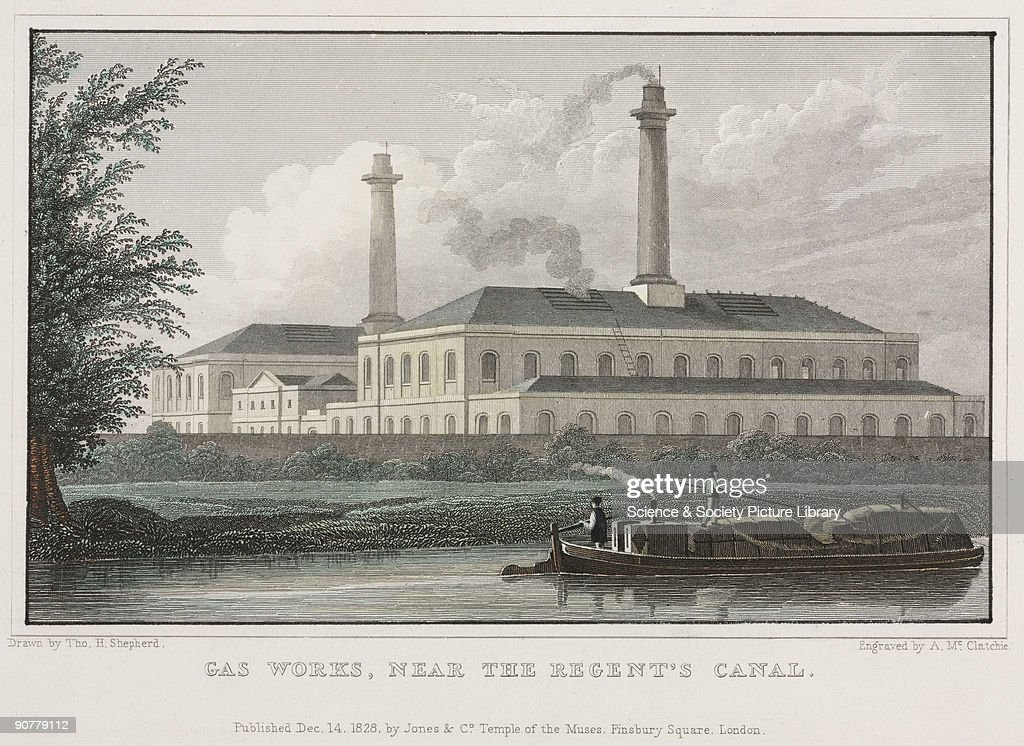 Engraving by A McClatchie after a drawing by T H Shepherd published by Jones and Company showing a barge on the Regent�s Canal passing in front of a...