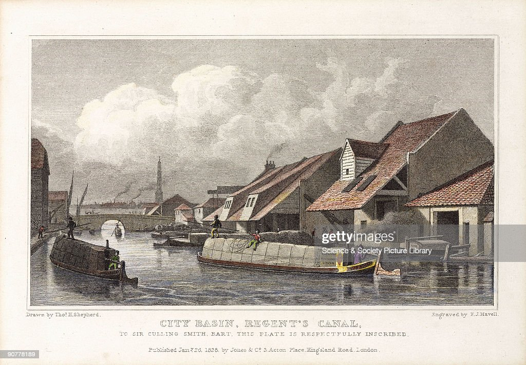 Engraving by F J Havell after a drawing by T H Shepherd published by Jones and Company in 1827 The print shows canal boats passing waterfront...