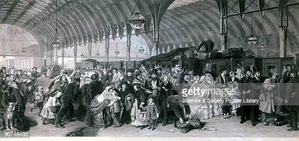 Engraving by Francis Holl after an original painting executed by William Powell Frith RA in 1862 Passengers are shown on a crowded station platform...