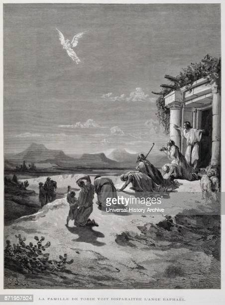 Engraving by Gustave Dor_ The family of Tobias see the Angel vanishing Tobias and the Angelis a scene in which Tobias son of Tobit meets an angel...