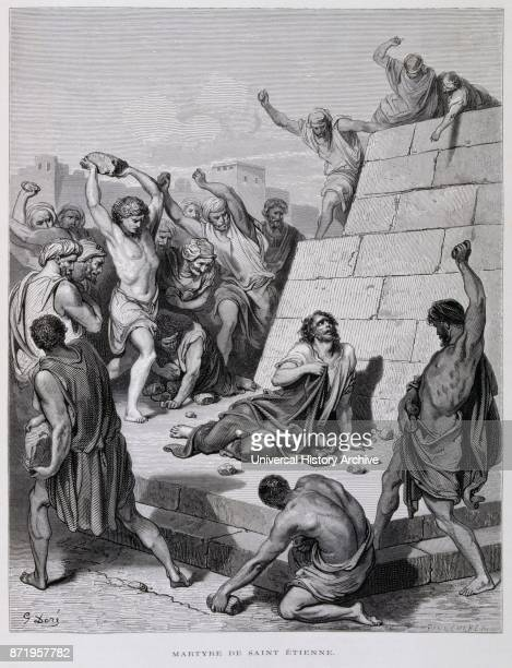 Engraving by Gustave Dor_ The Martyrdom of St Ettiene Saint Stephen was a Jewish preacher of the first century considered a posteriori as the first...