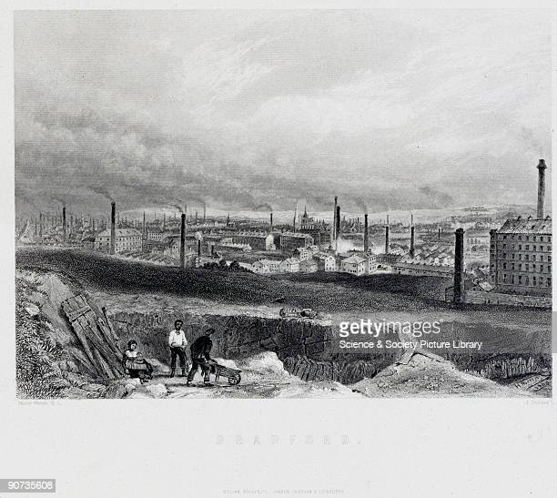 Engraving by H Warren An industrial cityscape showing the smoking chimneys and church spires of Bradford This city was a product of the Industrial...