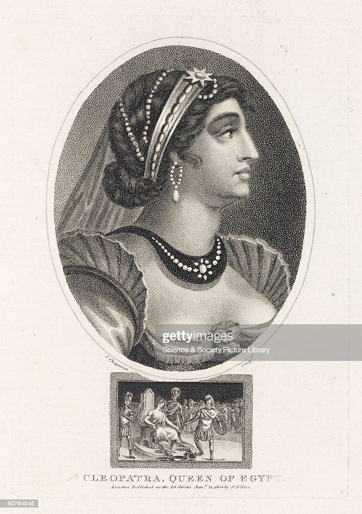 Engraving by J Chapman made in 1804, showing a romanticised 19th century conception of Queen <a gi-track='captionPersonalityLinkClicked' href=/galleries/search?phrase=Cleopatra&family=editorial&specificpeople=105315 ng-click='$event.stopPropagation()'>Cleopatra</a> of Egypt (69-30 BC). Illustration from �Encyclopaedia Londinensis, or, Universal Dictionary of Arts, Sciences, and Literature� published in London, 1810-1829.