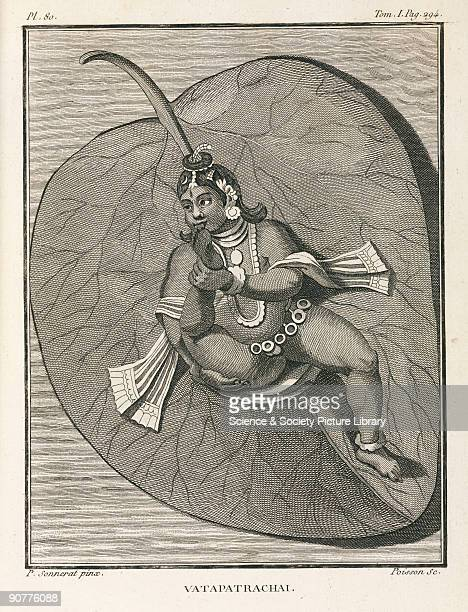 Engraving by Poisson after a painting by Pierre Sonnerat possibly of an Indian deity practising yoga He is contorting himself so that a foot fits in...