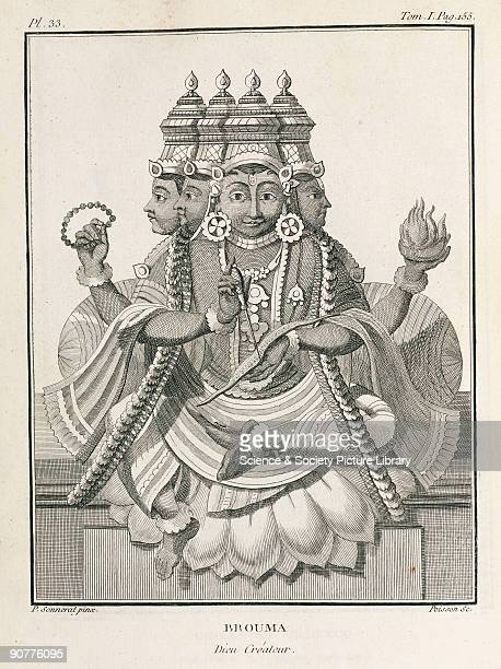 Engraving by Poisson after a painting by Pierre Sonnerat showing Brahma one of the three principle gods or aspects of deity the others being Shiva...
