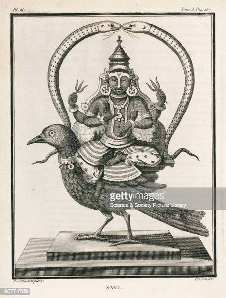 Engraving by Poisson after a painting by Pierre Sonnerat showing Sani the deity representing the planet Saturn In Hindu astrology he is a troublesome...