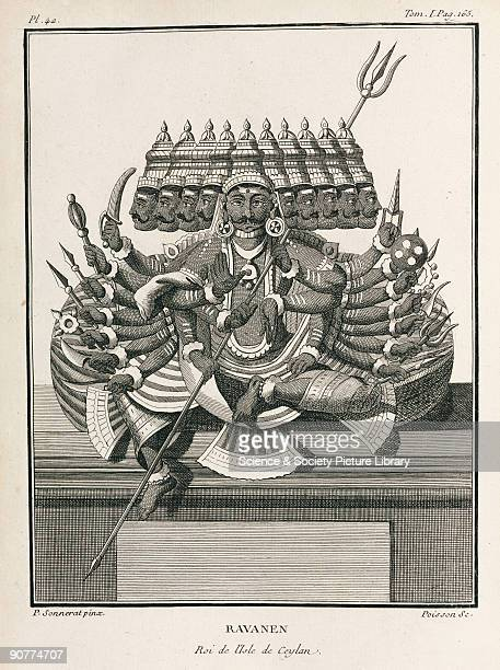 Engraving by Poisson after a painting by Pierre Sonnerat showing the multiarmed and multiheaded Ravanen of Ceylon Illustration from Sonnerat�s...