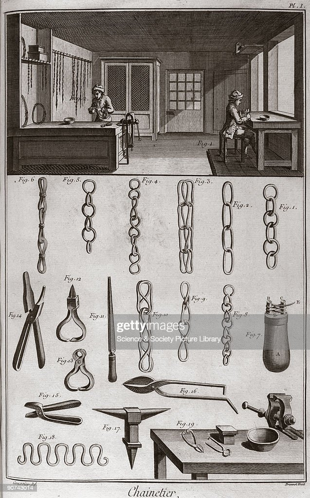 Engraving by Prevost after a drawing by Goussier showing craftsmen in their workshop with illustrations of their work and the tools they used From...