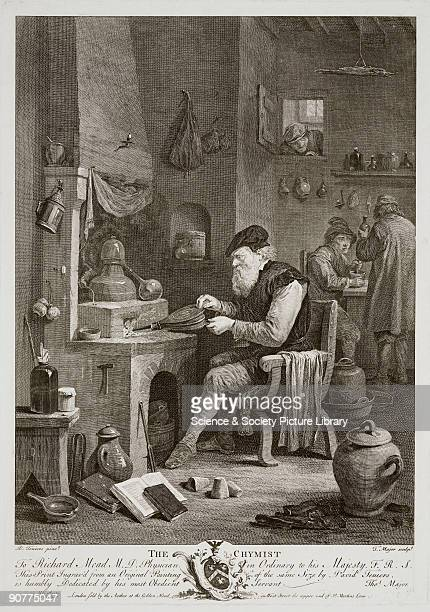 Engraving by Thomas Major after an earlier oil painting by David Teniers the Younger The chemist operates a set of bellows at a brick fire heating...