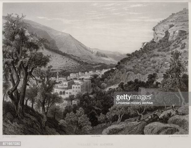 Engraving by Victor Gu_rin depicting the valley of Sichem Shechem was a Canaanite city mentioned in the Amarna letters and is mentioned in the Hebrew...
