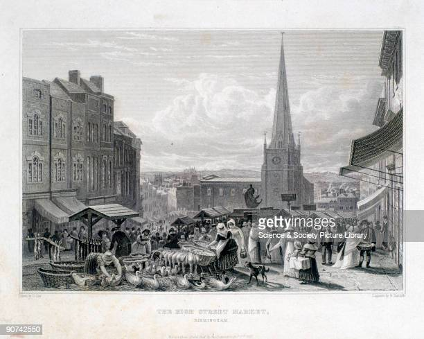 Engraving by William Radclyffe from a drawing by David Cox This bustling image shows women shopping for livestock including geese and rabbits in a...