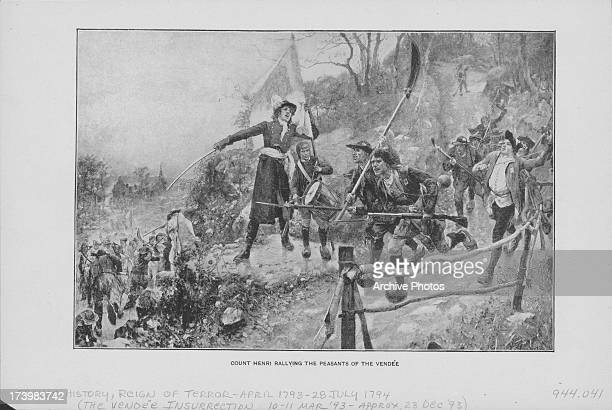 Engraving depicting a battle scene of the War in the Vendée a Royalist rebellion and counterrevolution during the French Revolution the main force...