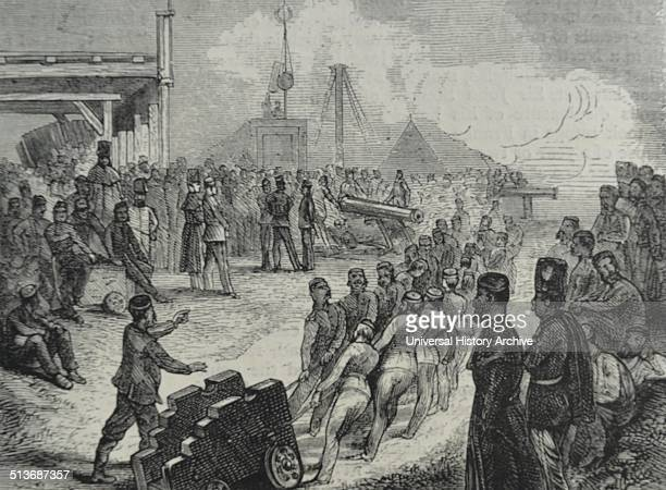 Engraving depicting a cannon holder being moved Dated 1870