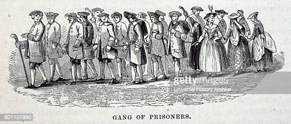 Engraving depicting a gang of prisoners in London Dated 18th Century