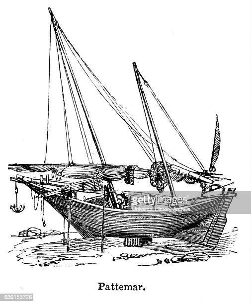 Engraving depicting a patamar a vessel resembling a grab used in the coasting trade of Bombay and Ceylon Dated 19th Century