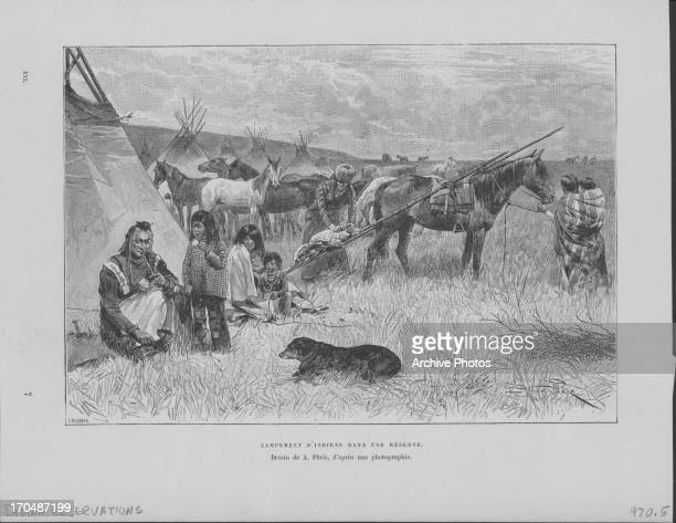 Engraving depicting a scene from a typical Native American Indian reservation areas of land allotted to Indian tribes in the absence of the...