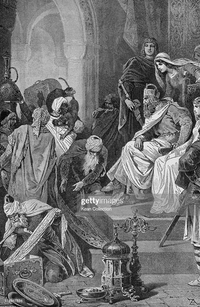 Engraving depicting <a gi-track='captionPersonalityLinkClicked' href=/galleries/search?phrase=Charlemagne&family=editorial&specificpeople=79057 ng-click='$event.stopPropagation()'>Charlemagne</a> (circa 742-814), King of the Franks, receiving gifts from Haroun Al-Raschid (766-809), Caliph of Baghdad, at his court in Aachen, Germany, circa 800.