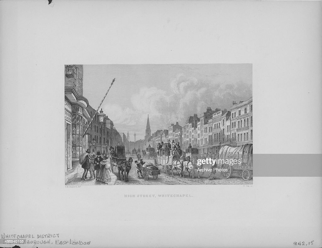 Engraving depicting crowds of people in the busy High Street in Whitechapel London England circa 1850