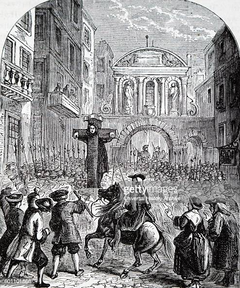 Engraving depicting Daniel Defoe an English trader writer journalist pamphleteer and spy in the pillory at Temple Bar London Dated 18th Century