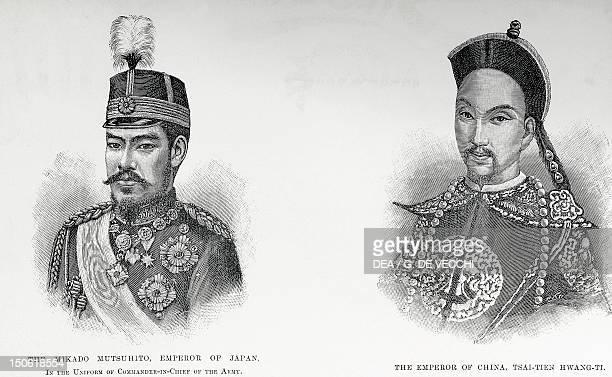 Engraving depicting Emperor Mutsuhito and the Emperor of China Tsa Tien Hwang Ti Japan 1894