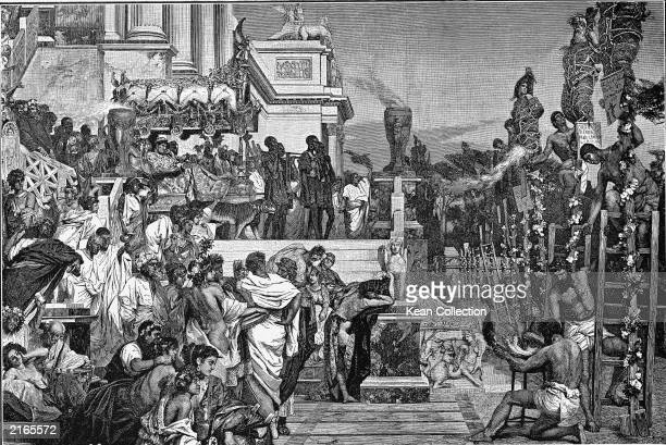 Engraving depicting Emperor Nero overseeing the torture of Christian subjects by burning at the stake in ancient Rome