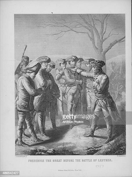 Engraving depicting Frederick the Great of Prussia with his men before the Battle of Leuthen during the Seven Years War December 5th 1757 Engraved by...