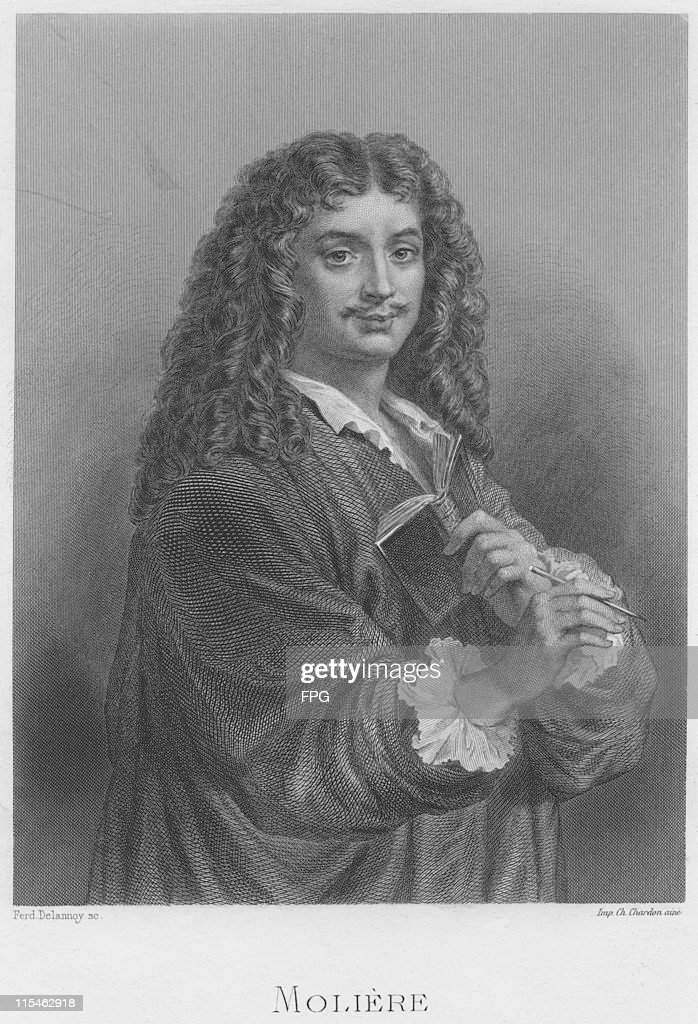 Engraving depicting Jean-Baptiste Poquelin (1622-1673), French actor and playwright, popularly known by his stage name, <a gi-track='captionPersonalityLinkClicked' href=/galleries/search?phrase=Moliere&family=editorial&specificpeople=183635 ng-click='$event.stopPropagation()'>Moliere</a>, France, circa 1650. Engraved by Ferdinand Delannoy.
