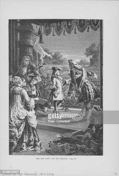 Engraving depicting King Louis XV of France and his son in front of a crowd of their subjects France circa 1750