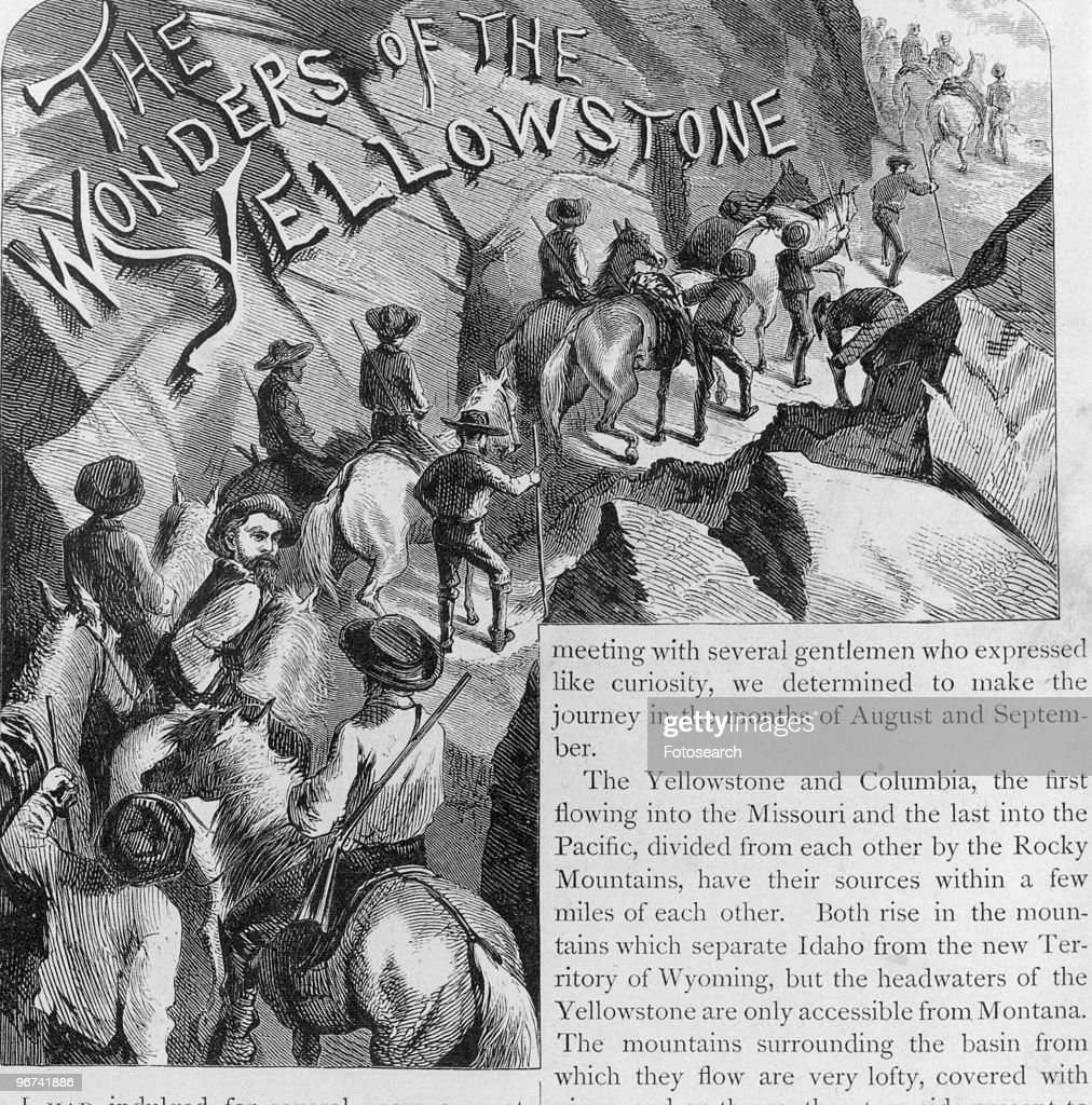 Engraving depicting men and horses climbing a mountain path with the title 'The Wonders Of The Yellowstone USA circa 1871