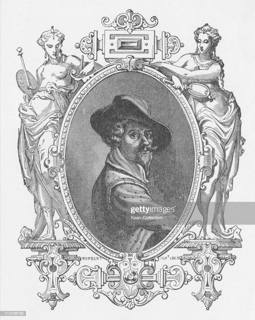 Engraving depicting Michelangelo Merisi da Caravaggio (1571-1610), Italian artist, circa 1600.