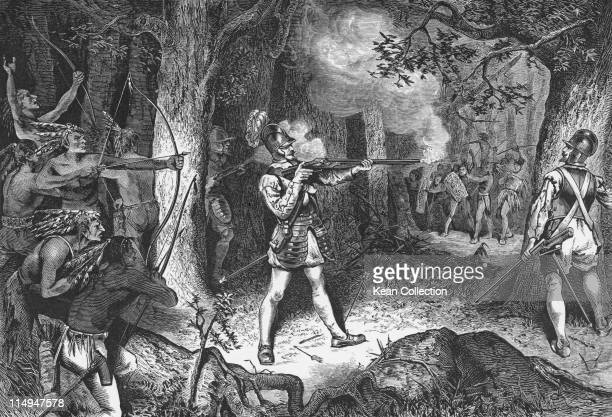 Engraving depicting Samuel de Champlain French soldier and explorer firing a rifle during the battle of the Indians Canada circa 1608 De Champlain...
