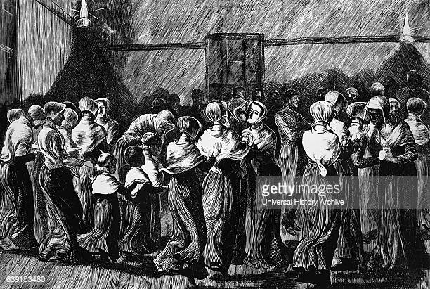 Engraving depicting Shakers dancing at Meeting holding hands palms upwards to catch God's grace and blessing Dated 19th Century