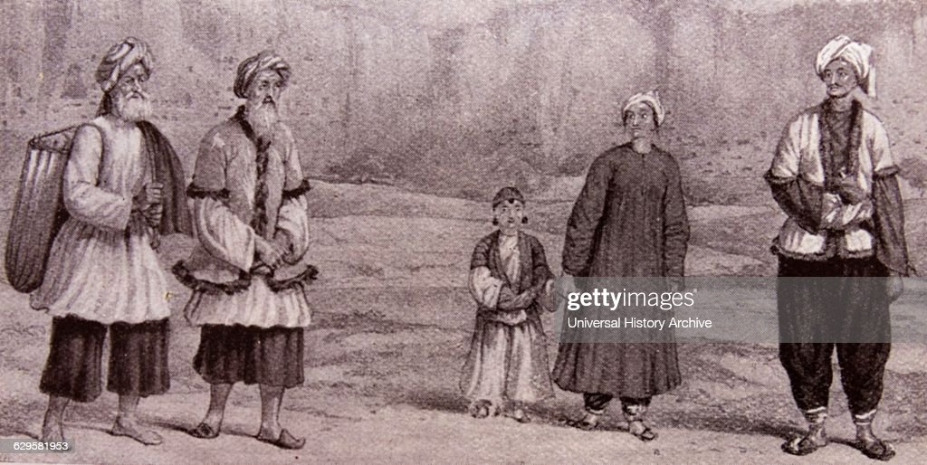 Engraving depicting Tajiks Persianspeaking villagers of Eastern Afghanistan Dated 19th Century