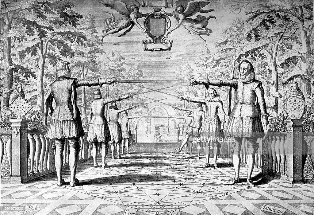 Engraving depicting the art of fencing from Academie de l'EspŽe 1628 rapier manual by GŽrard Thibault d'Anvers He was a Dutch fencing master whose...