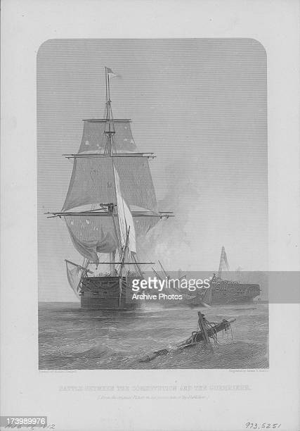Engraving depicting the battle between the USS Constitution and HMS Guerriere during the War of 1812 with the USS Constitution as the eventual victor...