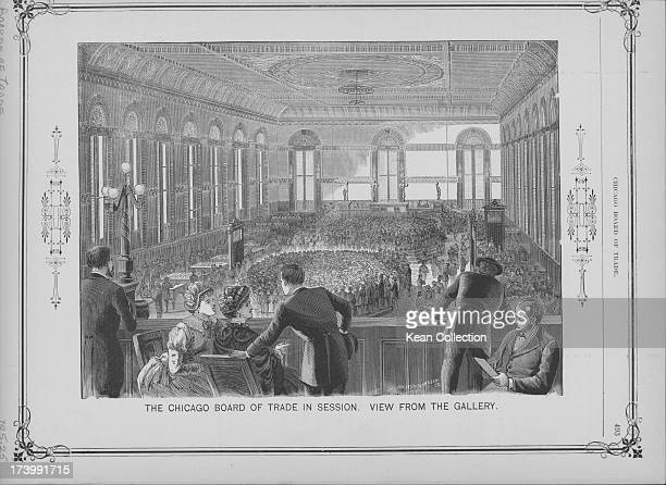 Engraving depicting the Chicago Board of Trade in session as viewed from the gallery