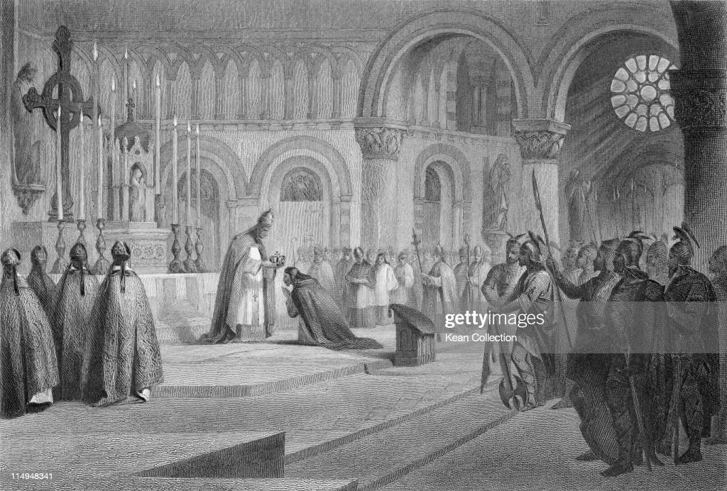 Engraving depicting the coronation of Charlemagne (742-814), showing Charlemagne kneeling as Pope Leo III (750-816) crowns him Roman Emperor, in Saint Peter's Basilica, Rome, Italy, 25 December 800.