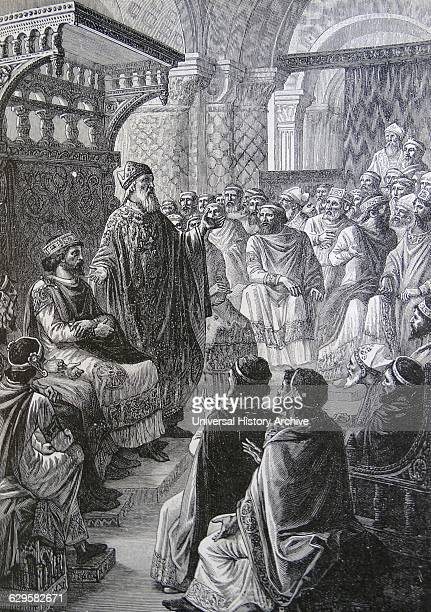 Engraving depicting the crowning of Hugh Capet as King of France at Rheims Dated 10th Century