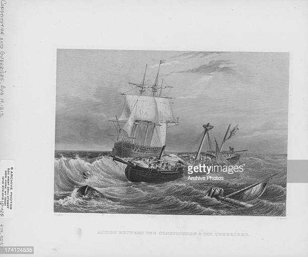 Engraving depicting the defeat of HMS Guerriere by the USS Constitution War of 1812 USA August 19th 1812